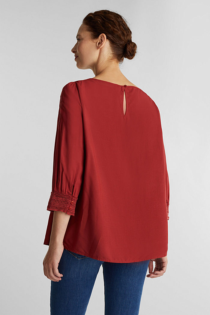Blouse with broderie anglaise, DARK RED, detail image number 3