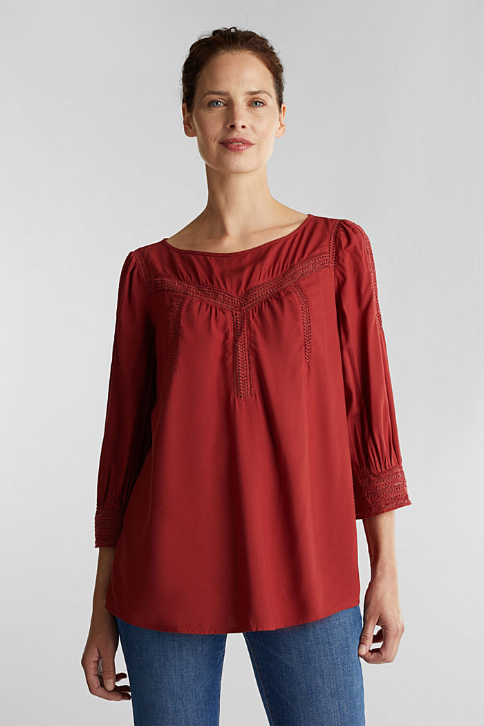 Blouse with broderie anglaise, DARK RED, detail image number 5