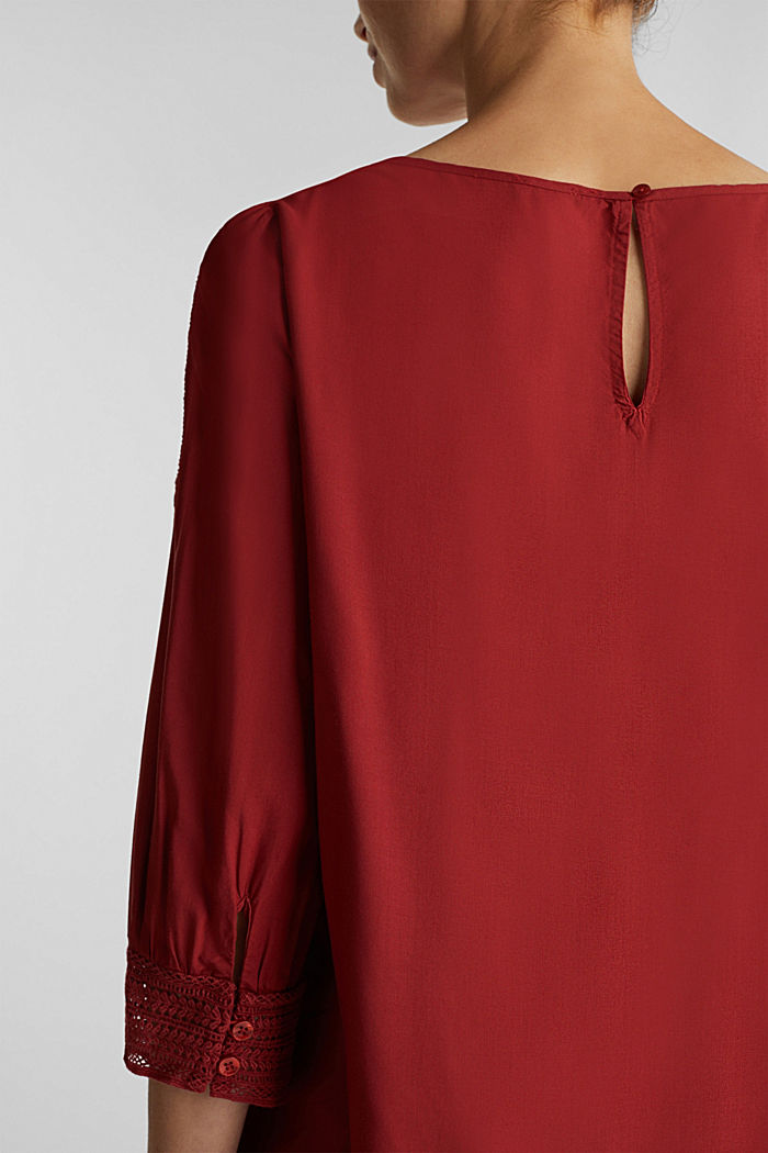 Blouse with broderie anglaise, DARK RED, detail image number 2