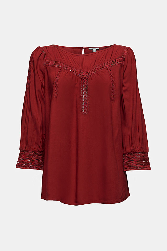Blouse with broderie anglaise, DARK RED, detail image number 7