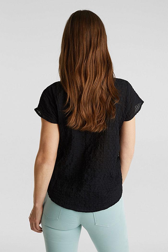 Semi-transparente Seersucker-Bluse, BLACK, detail image number 3