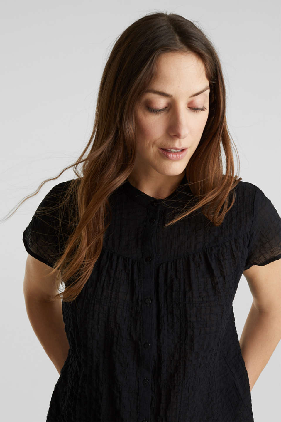 Semi-sheer seersucker blouse, BLACK, detail image number 5