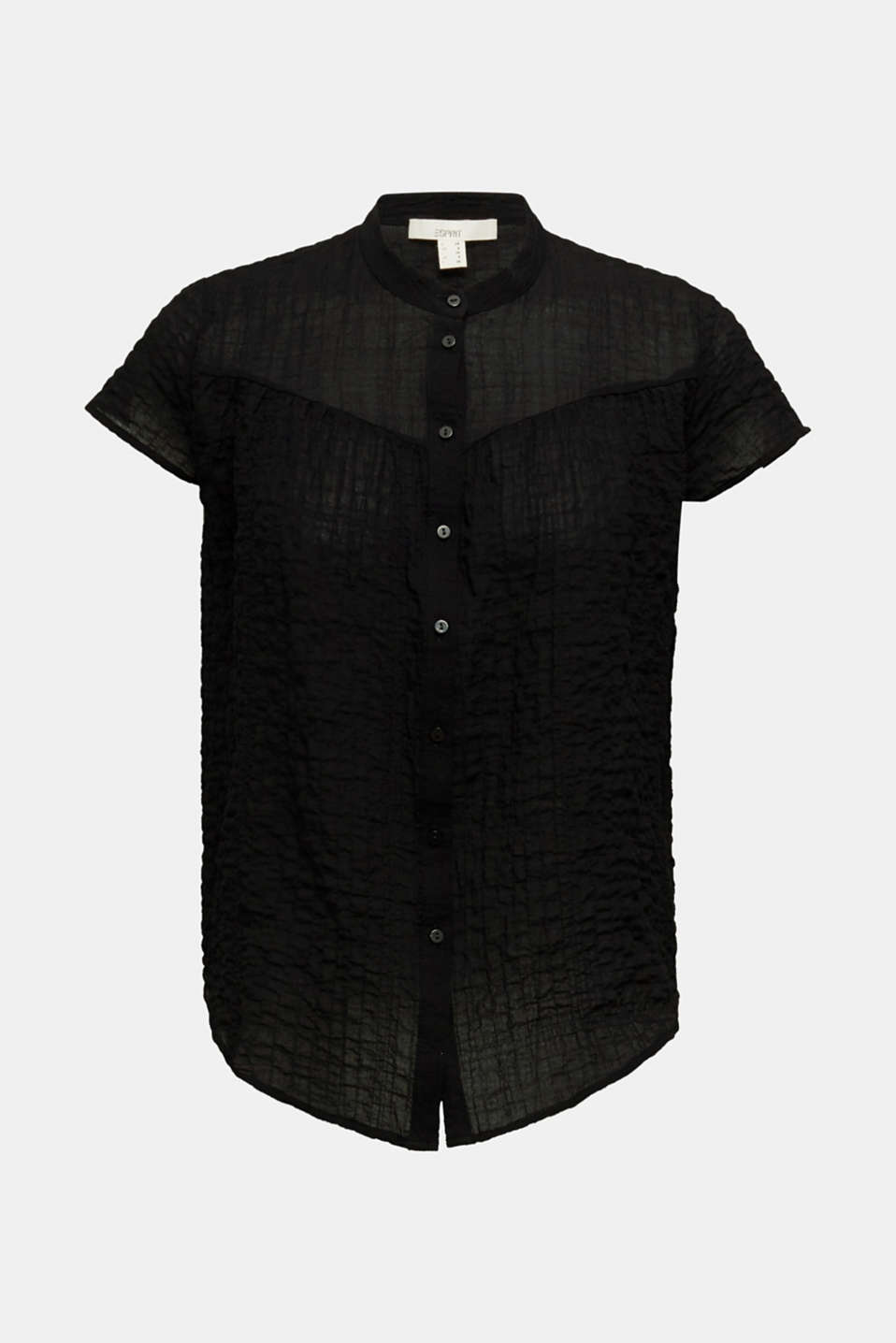 Semi-sheer seersucker blouse, BLACK, detail image number 6