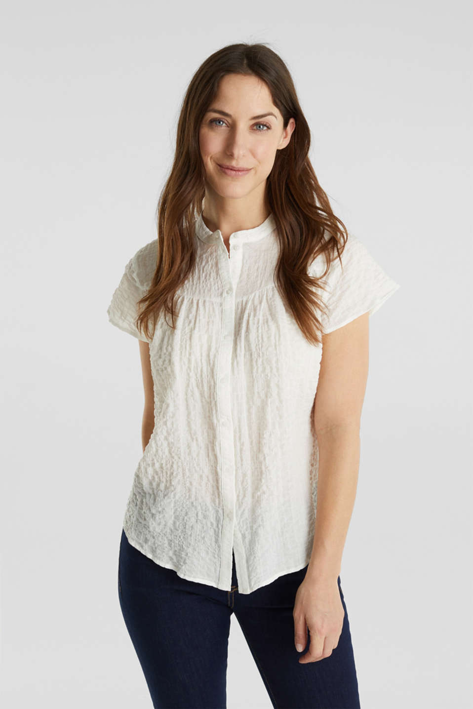 Esprit - Semi-sheer seersucker blouse