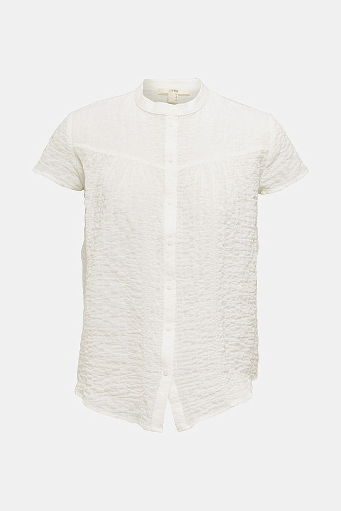 Semi-sheer seersucker blouse, OFF WHITE, overview