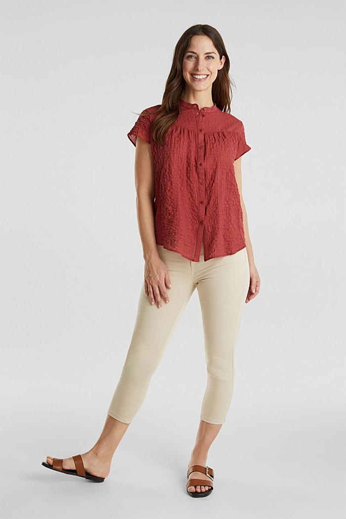 Semi-sheer seersucker blouse, DARK RED, detail image number 1