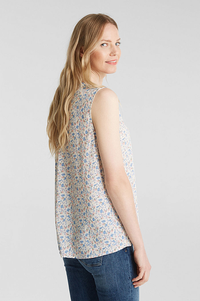 Blouse top with a floral print, WHITE, detail image number 3