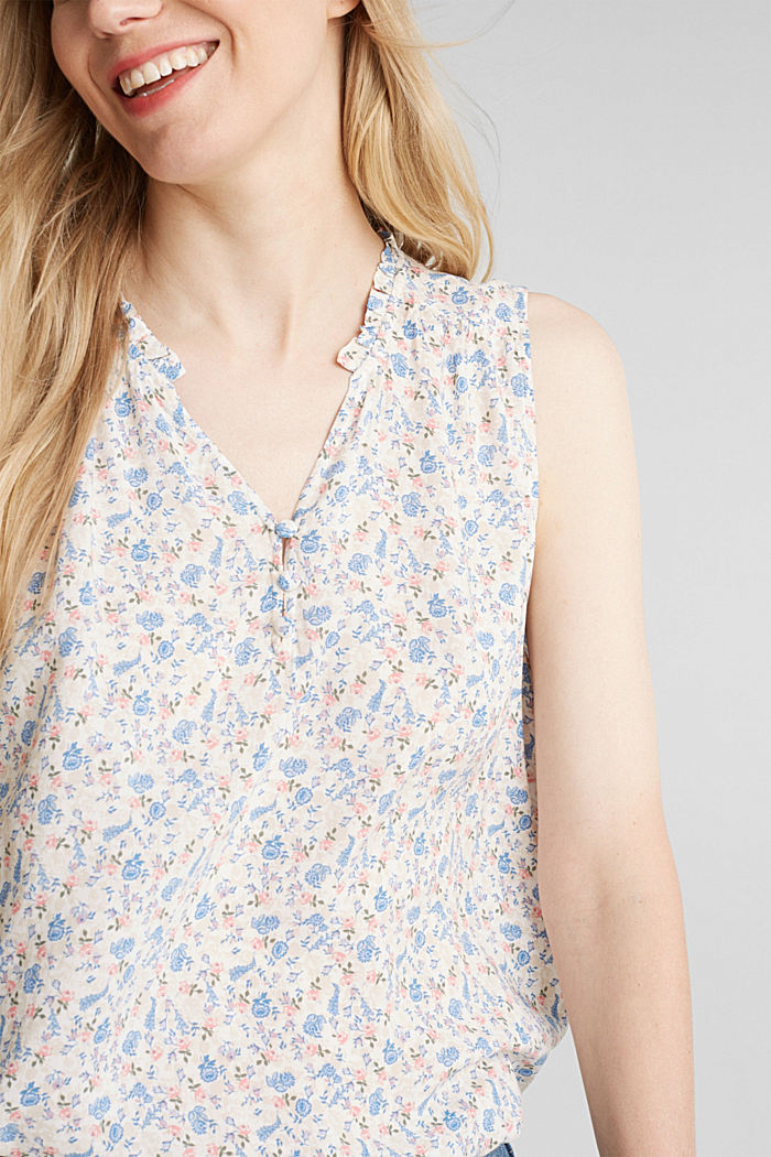 Blouse top with a floral print, WHITE, detail image number 2