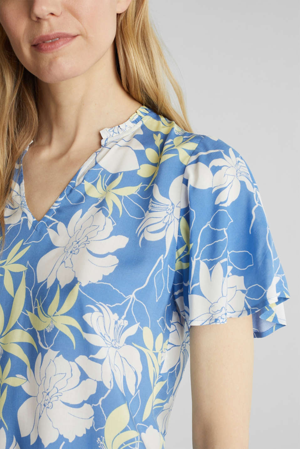 Cap sleeve blouse, BRIGHT BLUE 4, detail image number 0