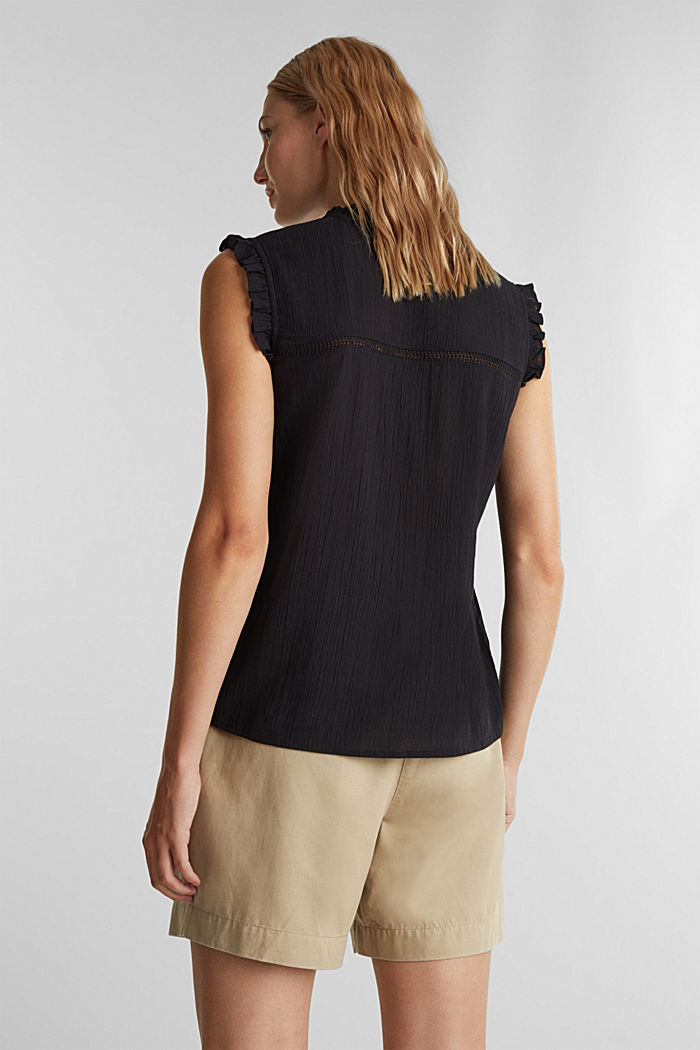 Crinkle blouse top with broderie anglaise, BLACK, detail image number 3