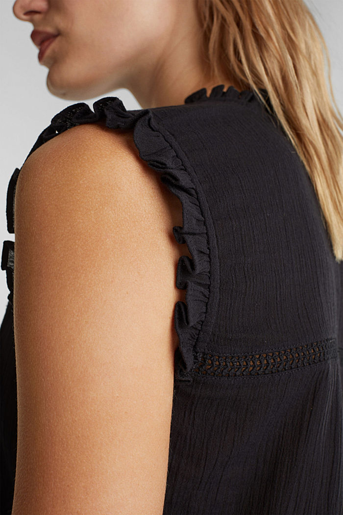 Crinkle blouse top with broderie anglaise, BLACK, detail image number 2