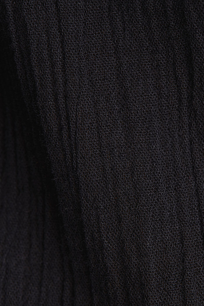 Crinkle blouse top with broderie anglaise, BLACK, detail image number 4
