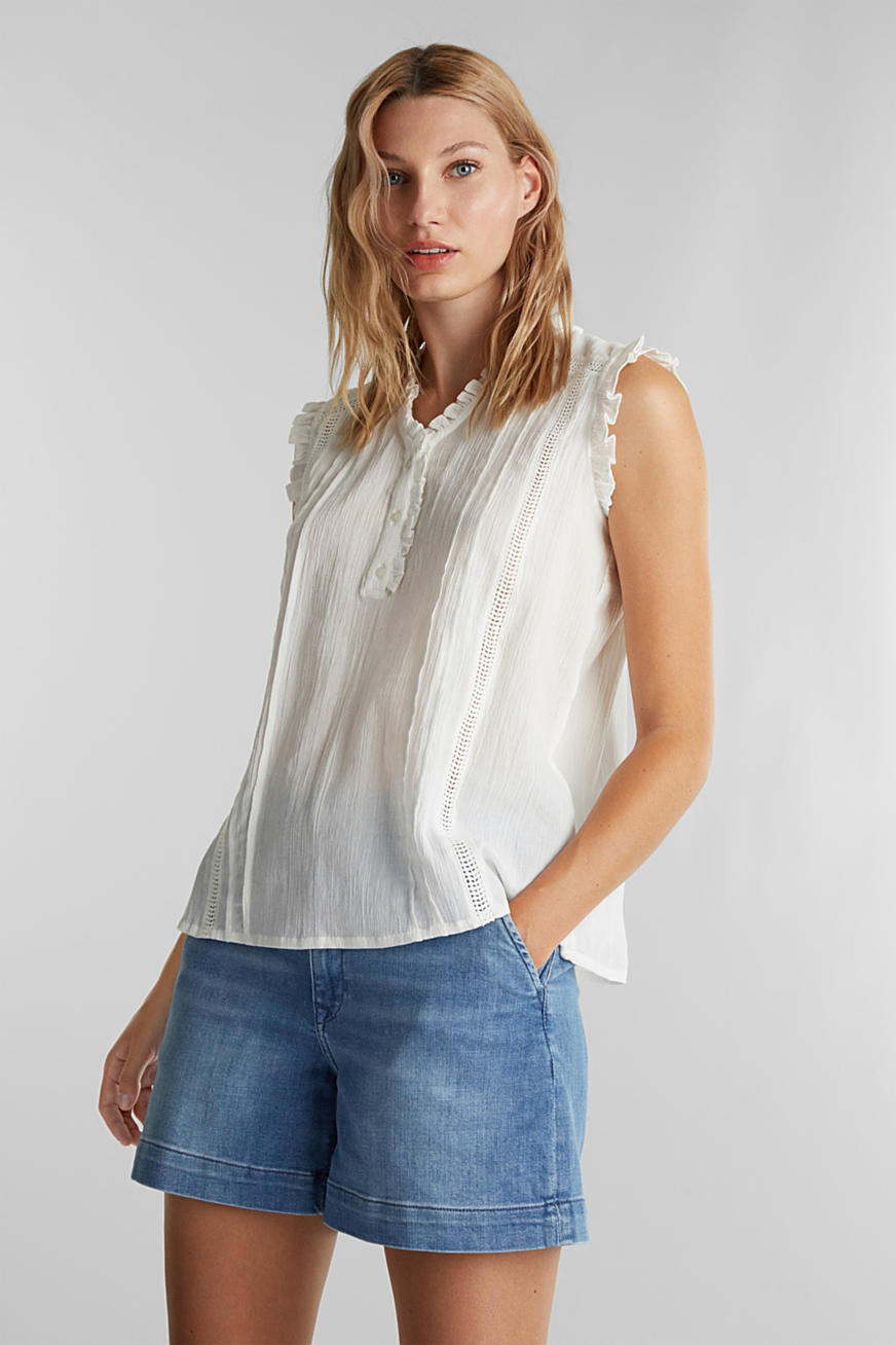 Crinkle blouse top with broderie anglaise