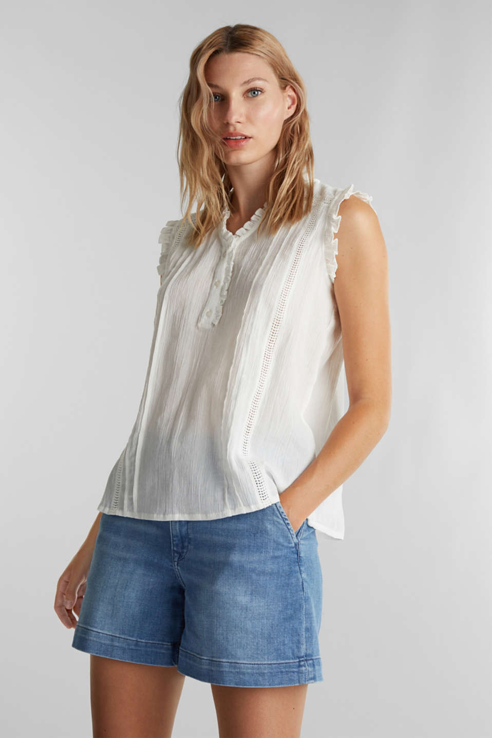 Esprit - Crinkle blouse top with broderie anglaise