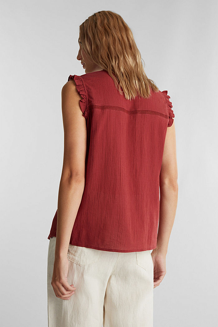 Crinkle blouse top with broderie anglaise, DARK RED, detail image number 3