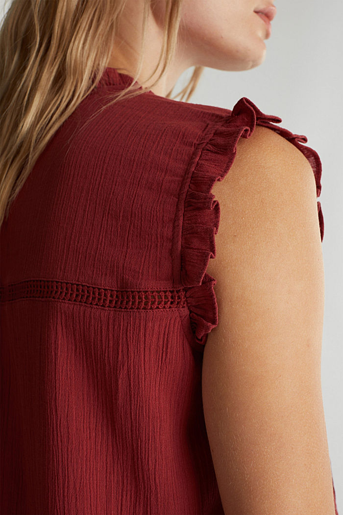 Crinkle blouse top with broderie anglaise, DARK RED, detail image number 2