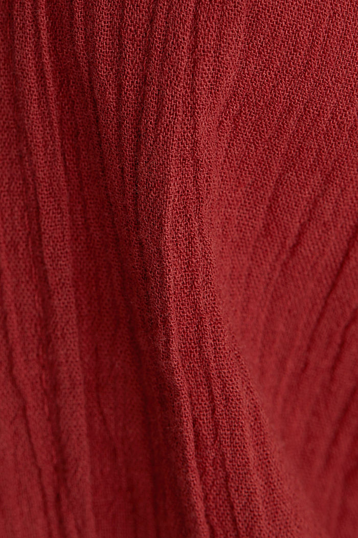 Crinkle blouse top with broderie anglaise, DARK RED, detail image number 4