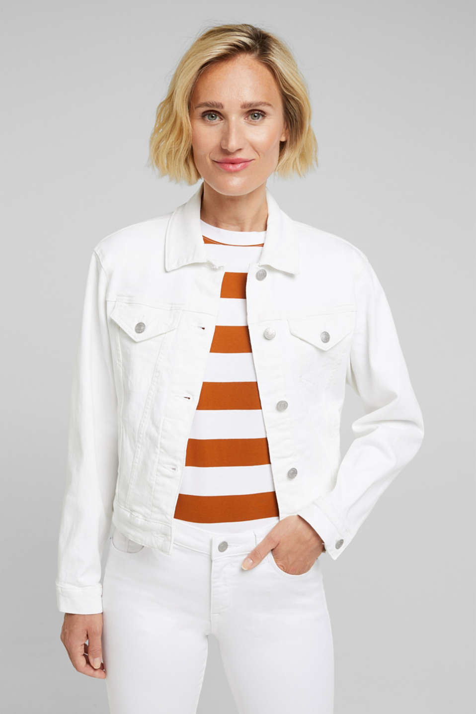 Esprit - Denim jacket made of organic cotton with stretch
