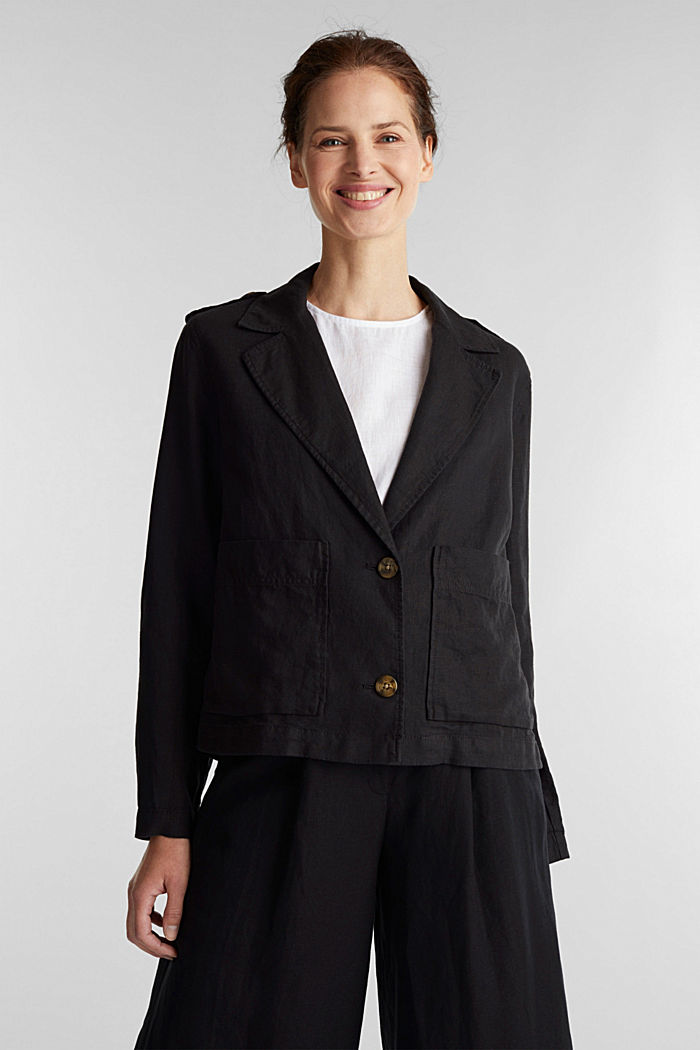 Made of linen: short blazer with pockets, BLACK, detail image number 0