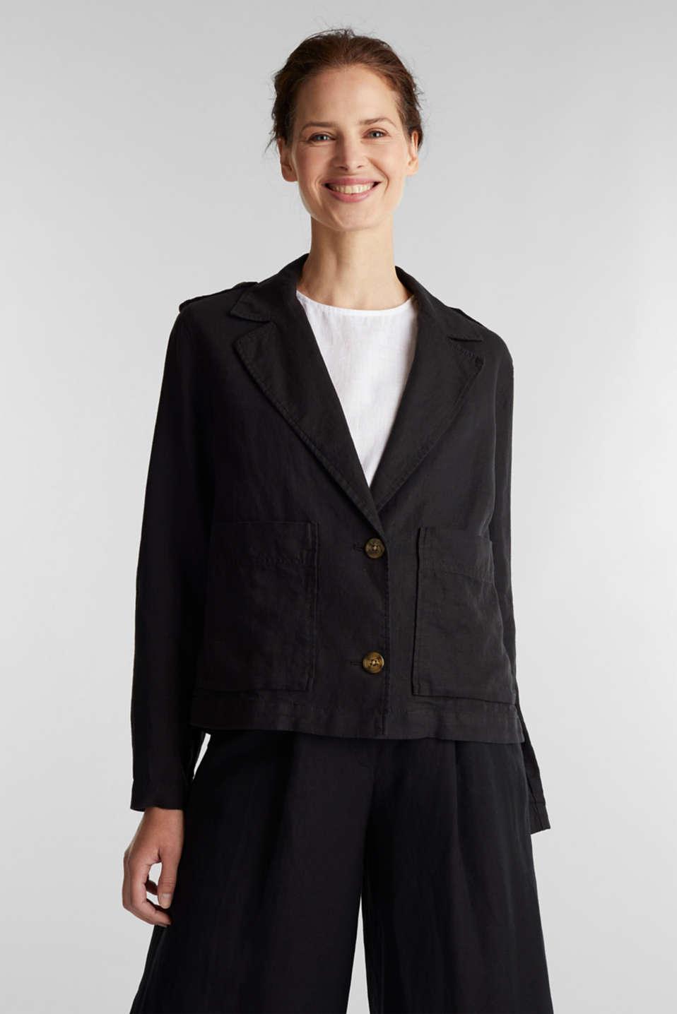 Made of linen: short blazer with pockets, BLACK, detail image number 0