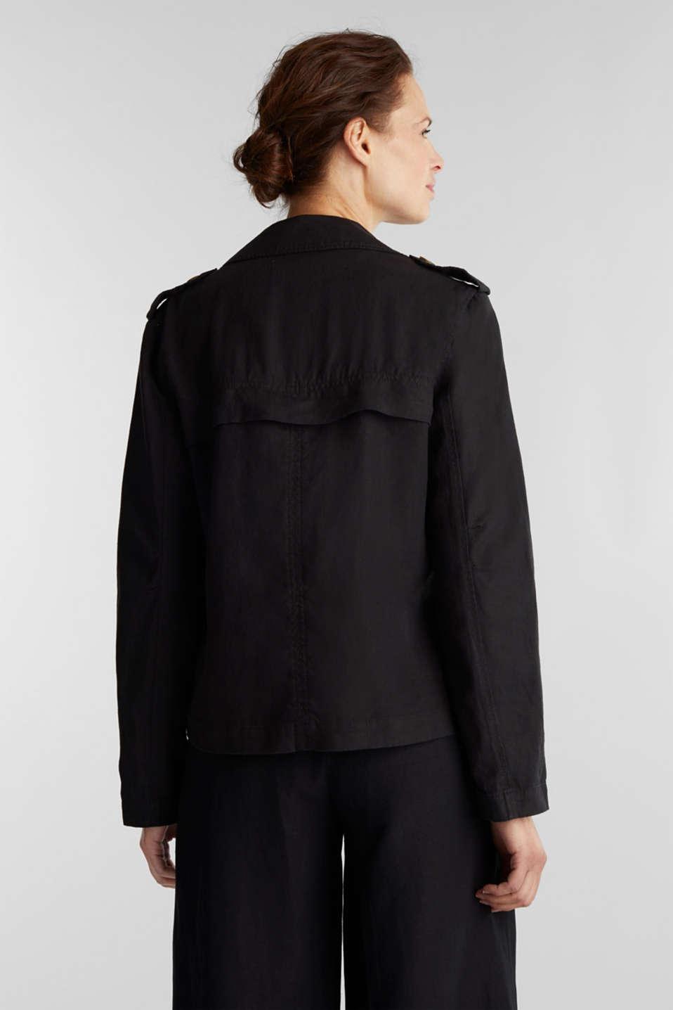 Made of linen: short blazer with pockets, BLACK, detail image number 3