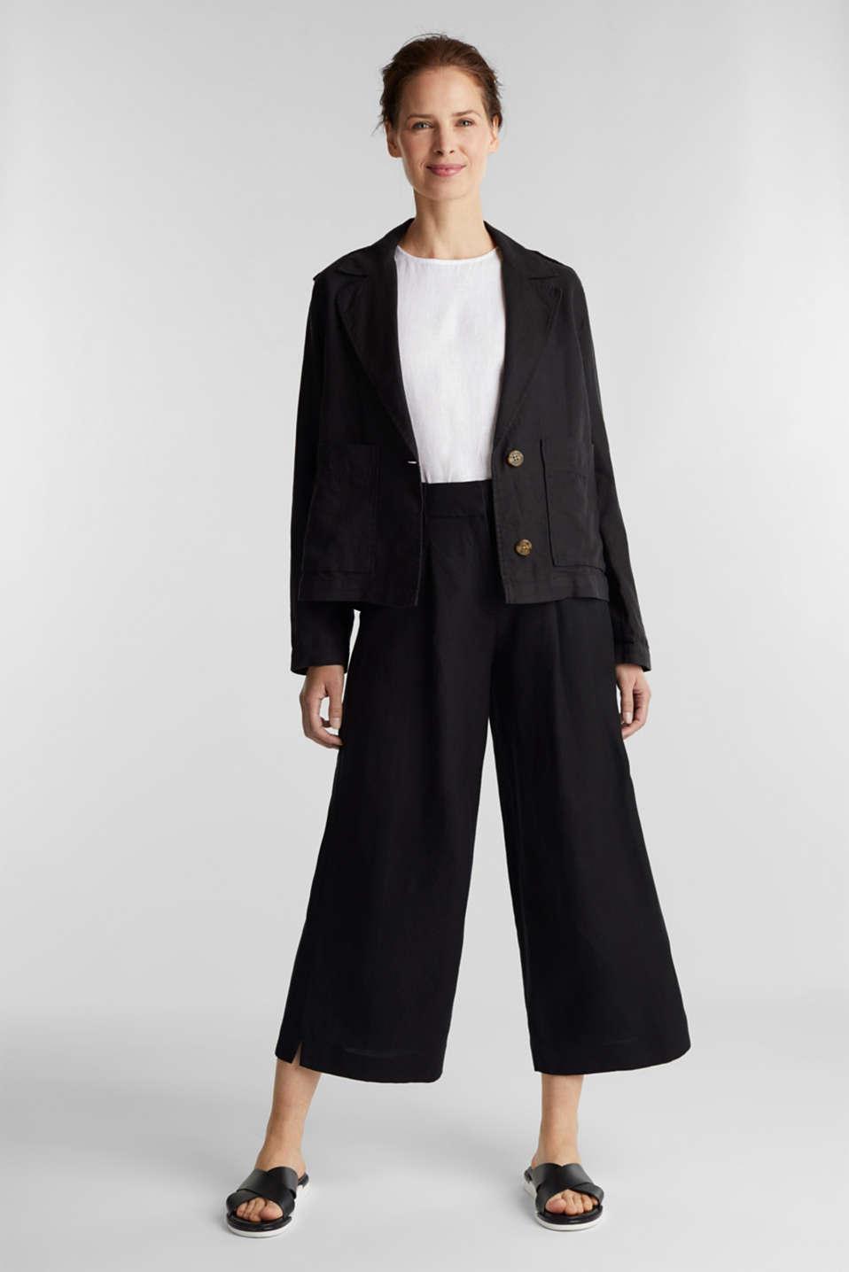 Made of linen: short blazer with pockets, BLACK, detail image number 1