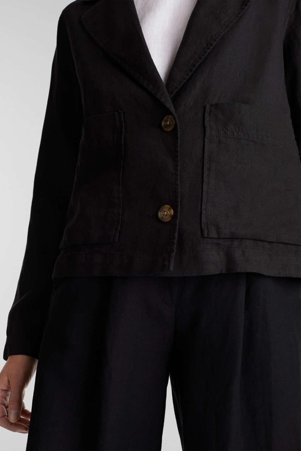 Made of linen: short blazer with pockets, BLACK, detail image number 5