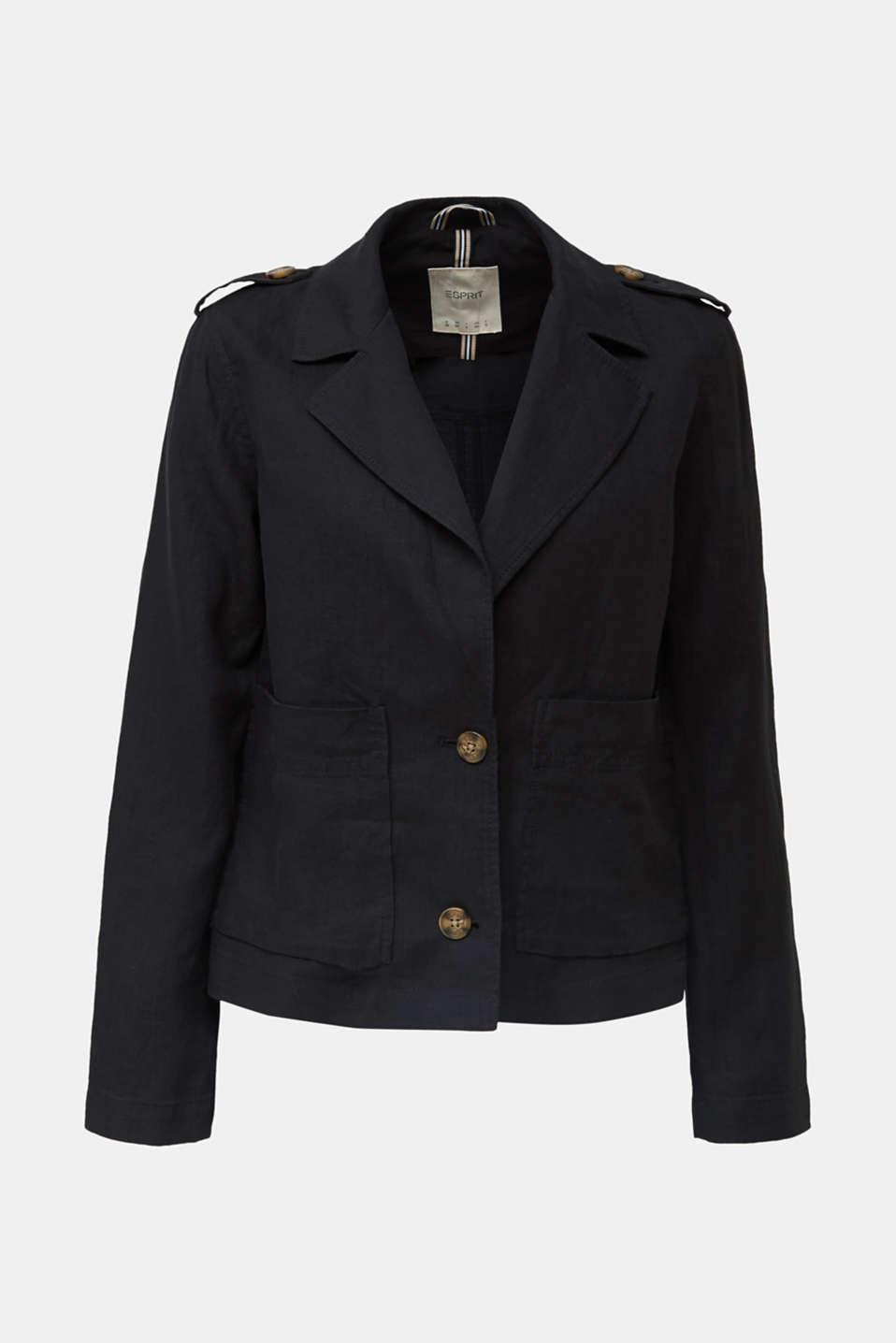Made of linen: short blazer with pockets, BLACK, detail image number 6