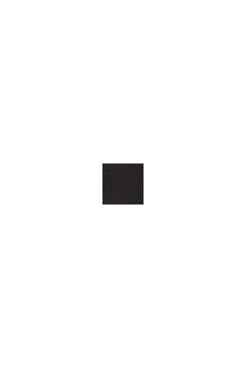 Aus Leinen: Kurz-Blazer mit Taschen, BLACK, swatch