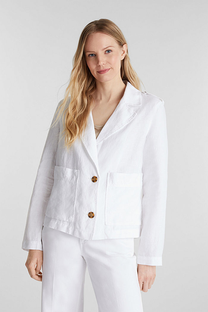 Made of linen: short blazer with pockets