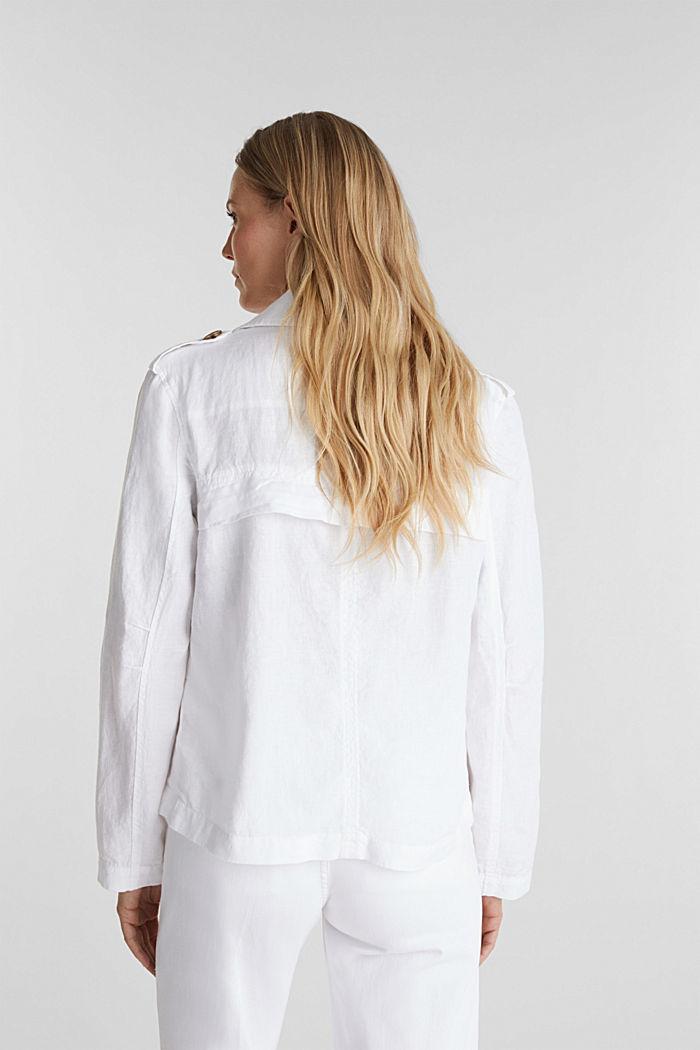 Aus Leinen: Kurz-Blazer mit Taschen, WHITE, detail image number 3