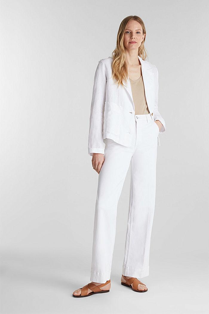 Aus Leinen: Kurz-Blazer mit Taschen, WHITE, detail image number 1
