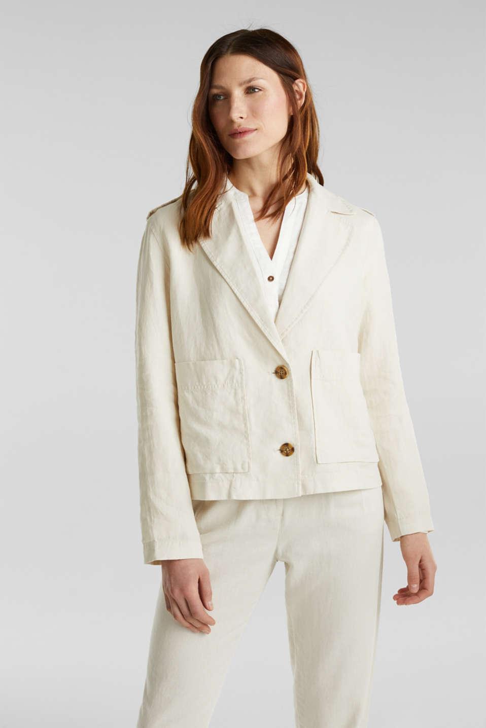 Made of linen: short blazer with pockets, SAND, detail image number 0