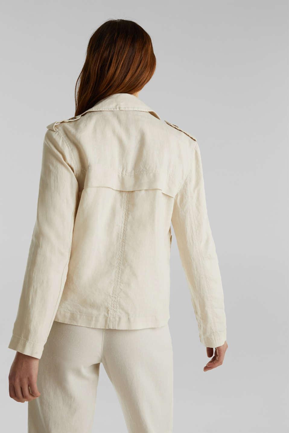Made of linen: short blazer with pockets, SAND, detail image number 3