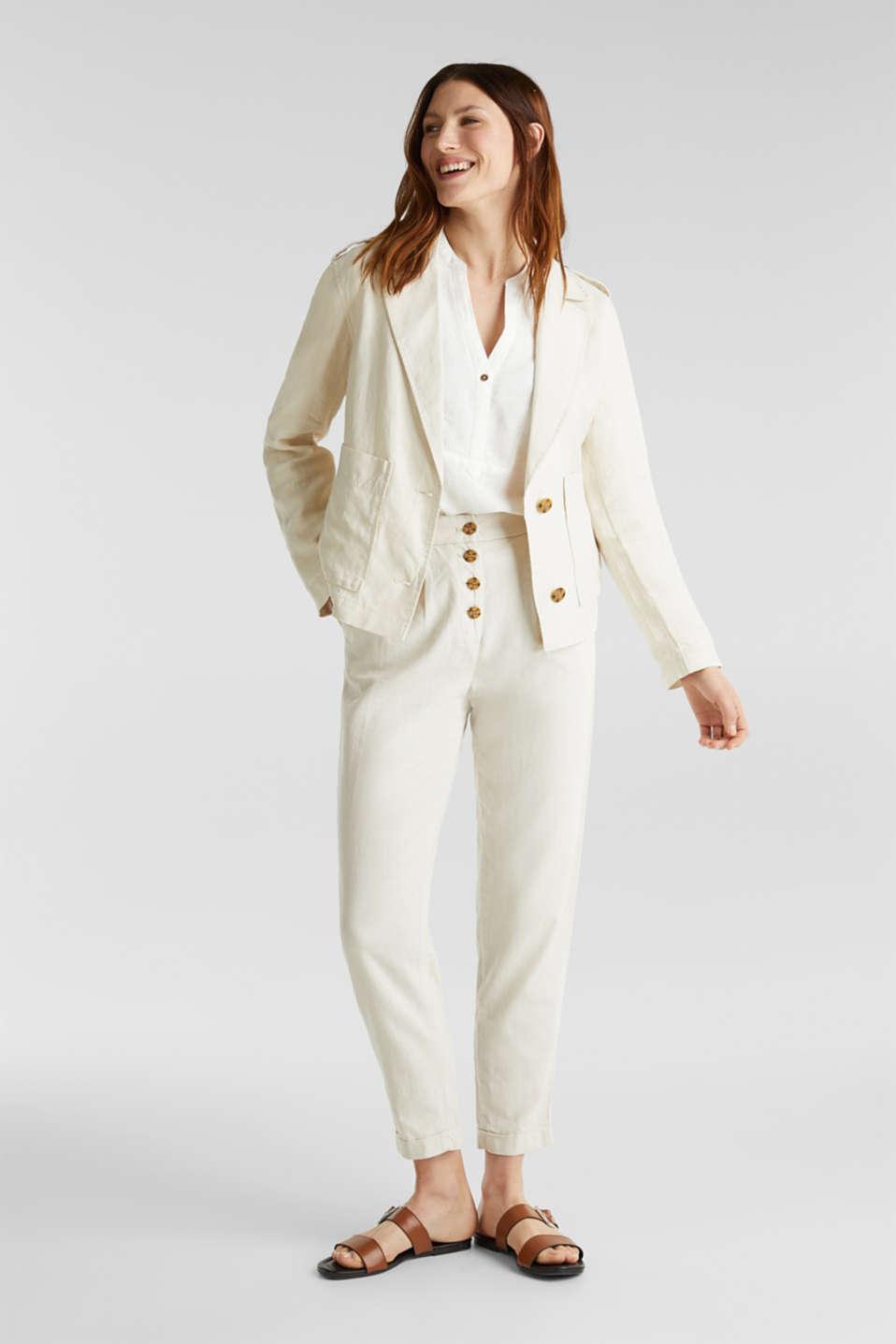 Made of linen: short blazer with pockets, SAND, detail image number 1