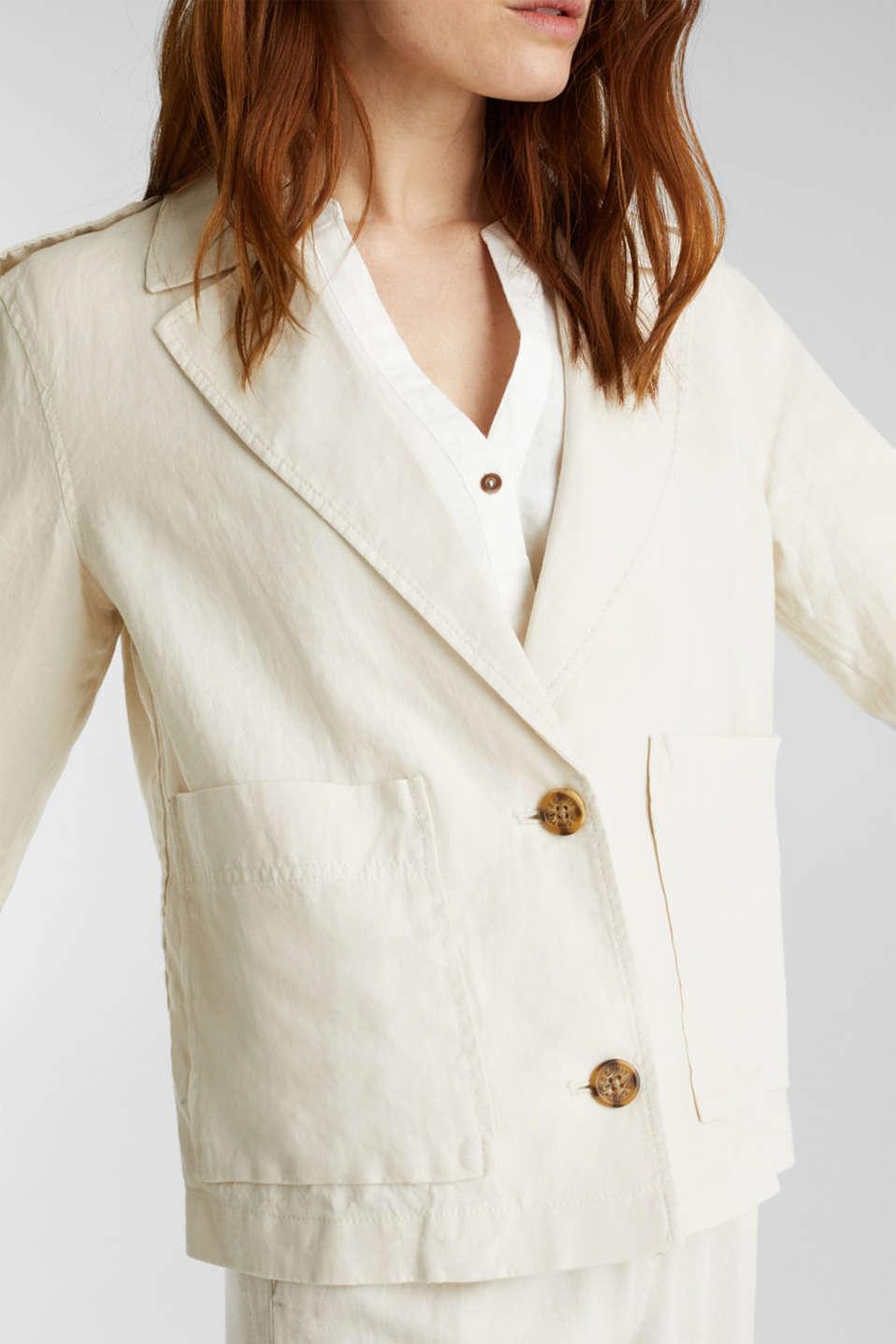 Made of linen: short blazer with pockets, SAND, detail image number 2