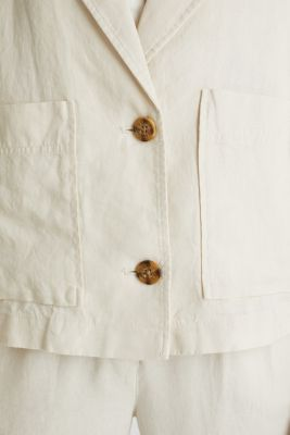 Made of linen: short blazer with pockets, SAND, detail