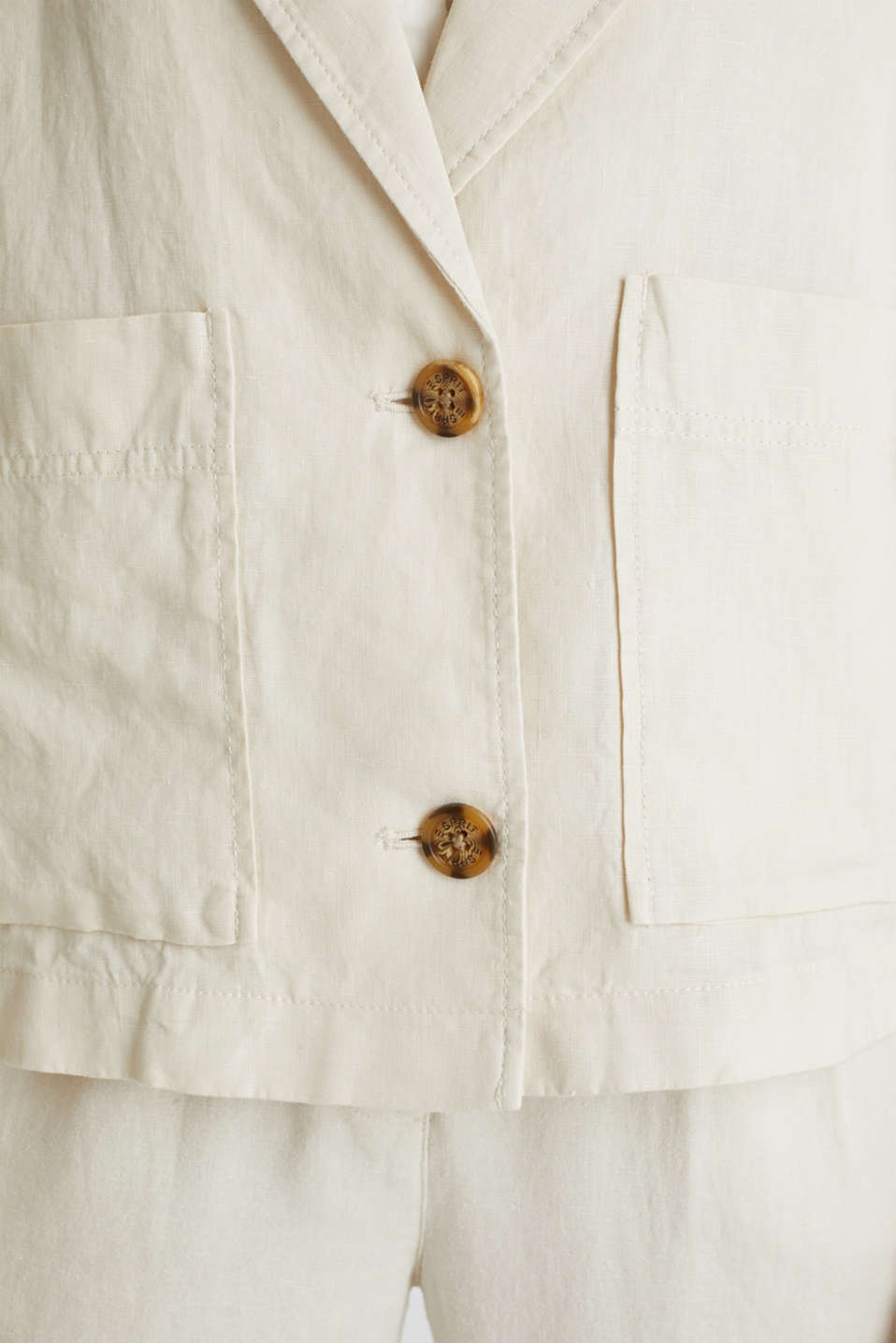 Made of linen: short blazer with pockets, SAND, detail image number 4