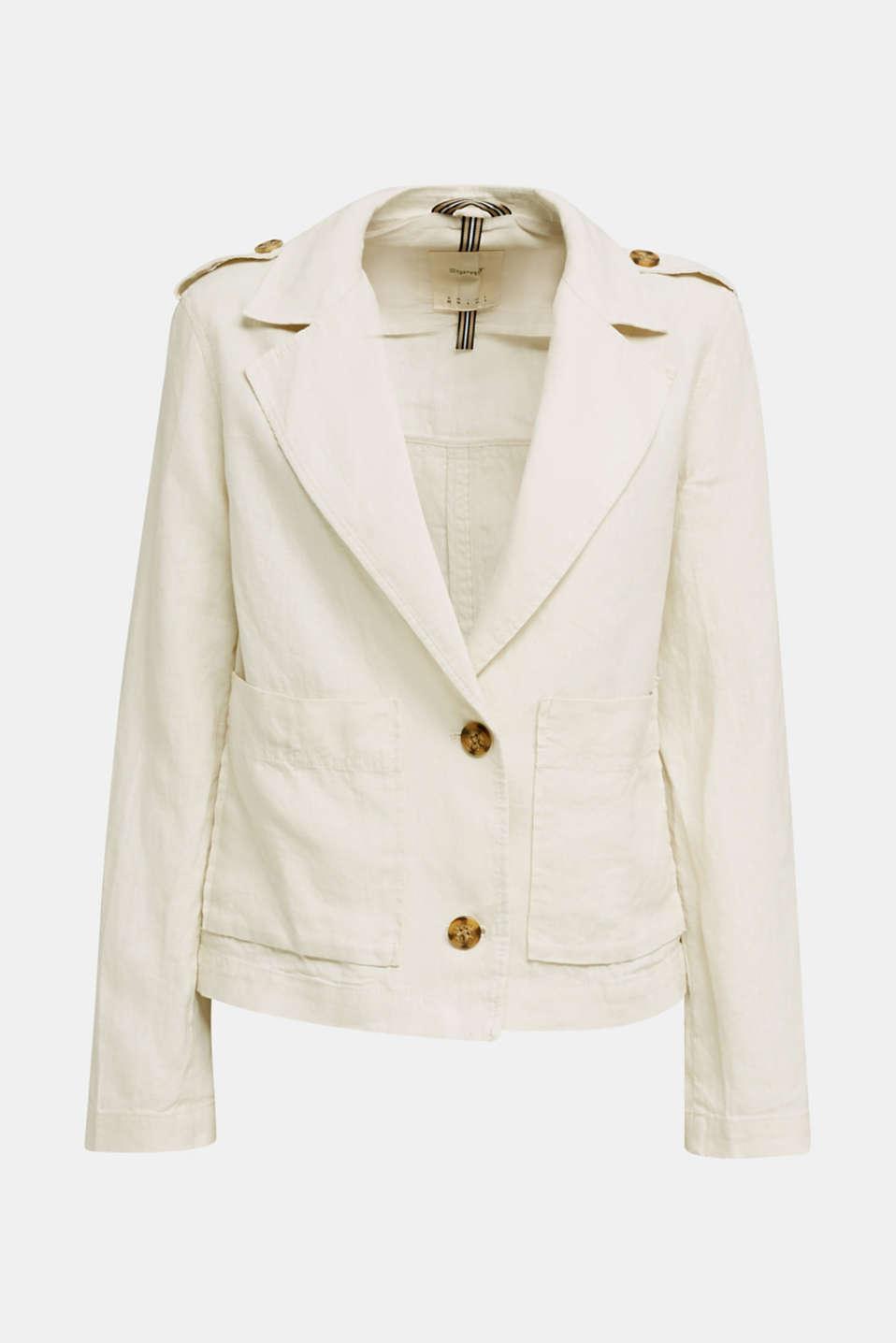 Made of linen: short blazer with pockets, SAND, detail image number 5