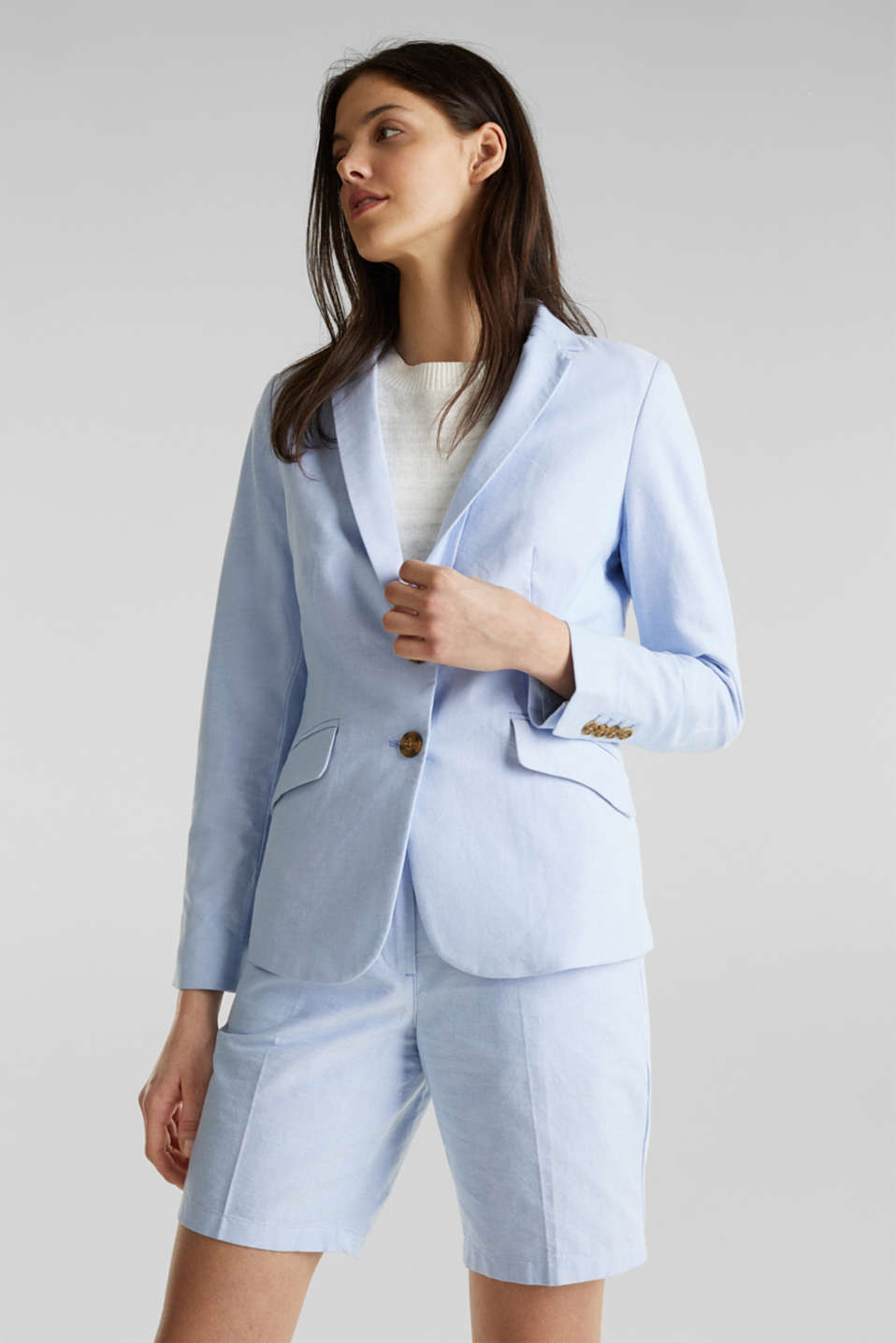 Cotton chambray blazer, LIGHT BLUE, detail image number 0