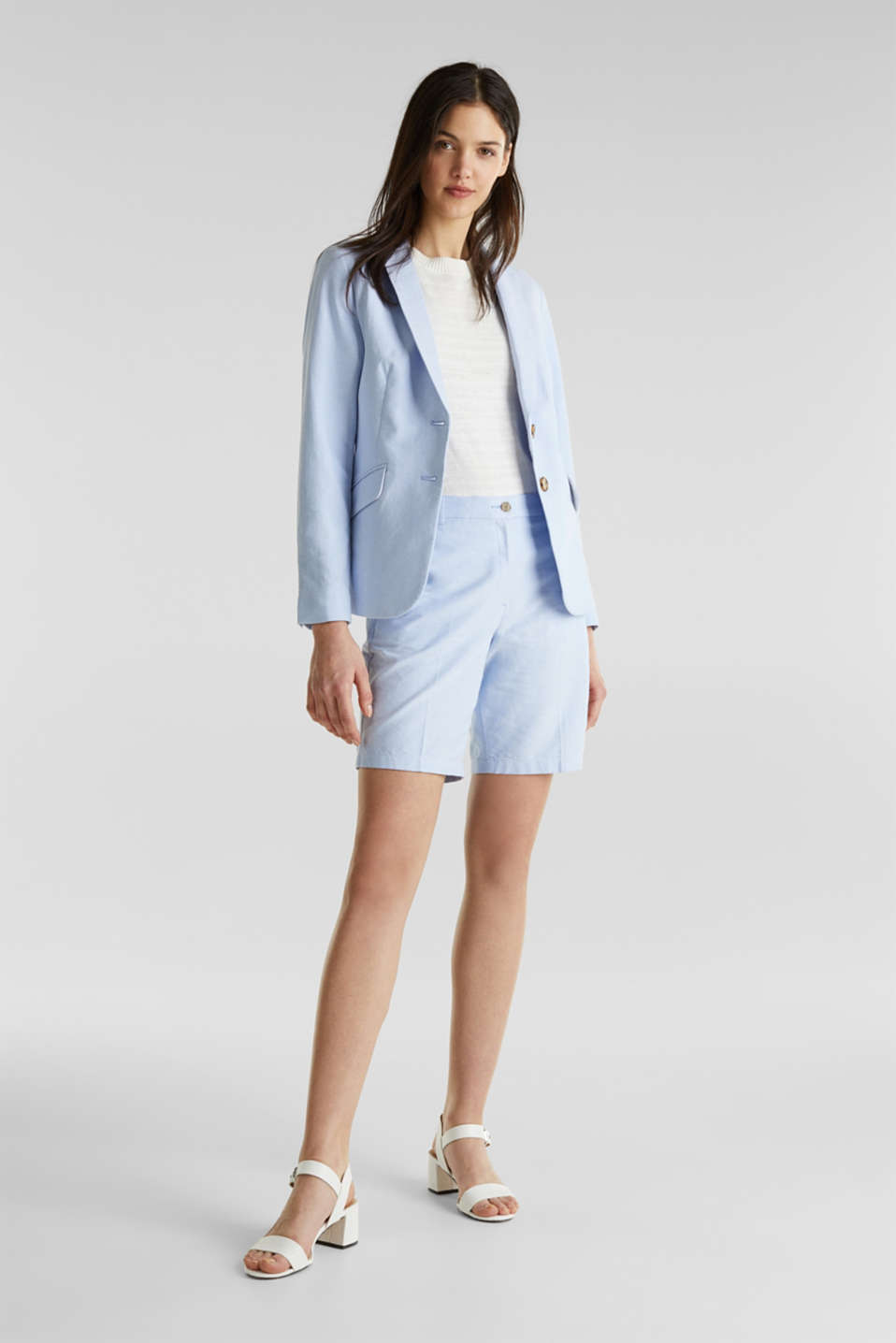 Cotton chambray blazer, LIGHT BLUE, detail image number 1