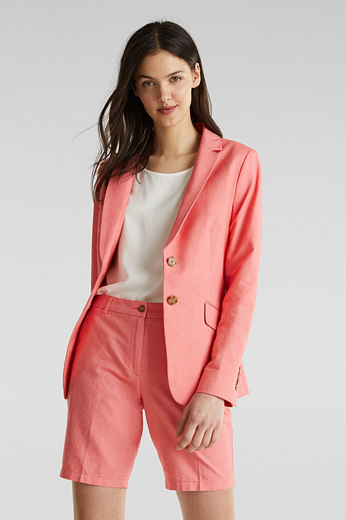 Cotton chambray blazer, CORAL, detail image number 0