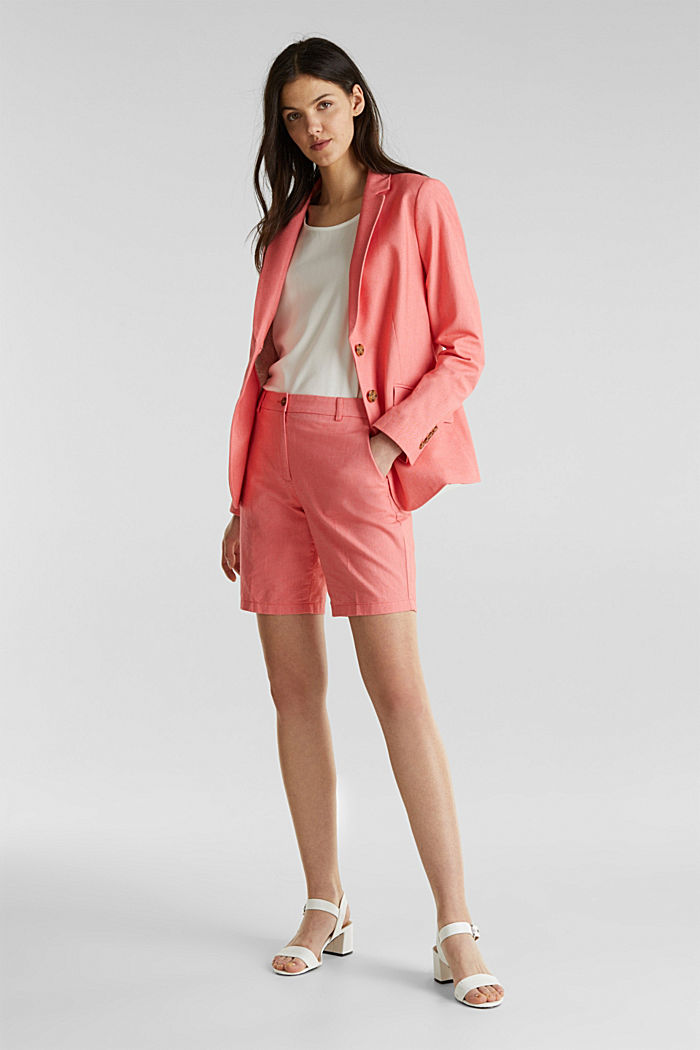 Cotton chambray blazer, CORAL, detail image number 1
