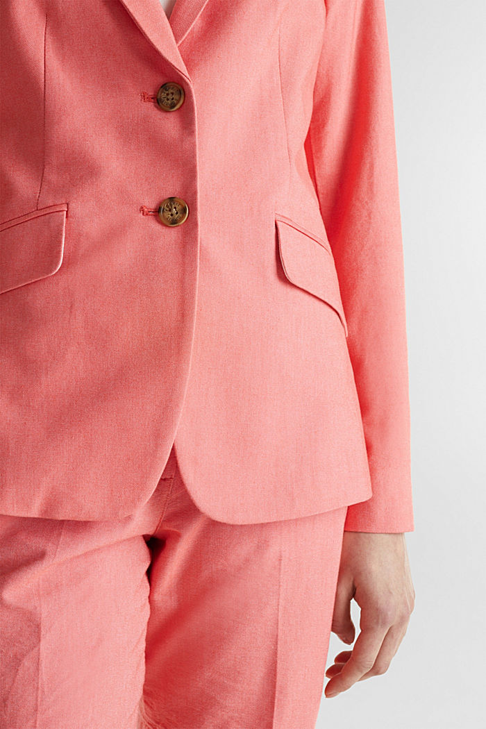 Cotton chambray blazer, CORAL, detail image number 2