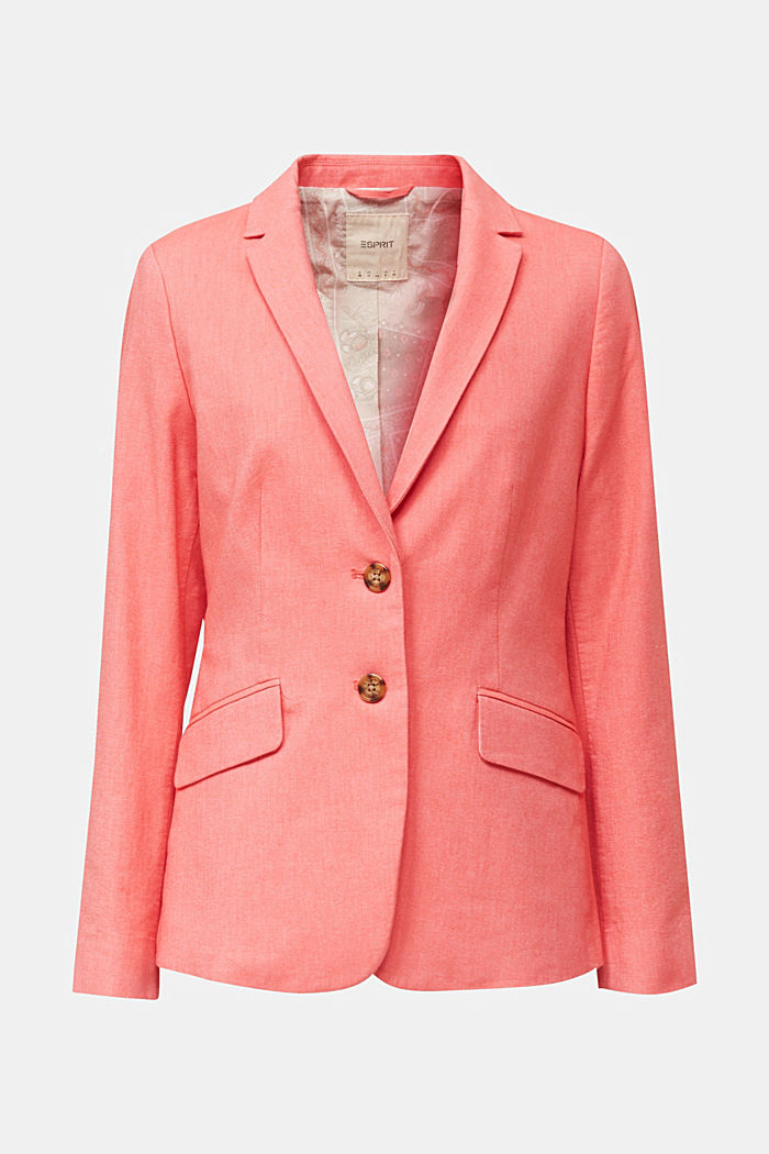 Cotton chambray blazer, CORAL, detail image number 6