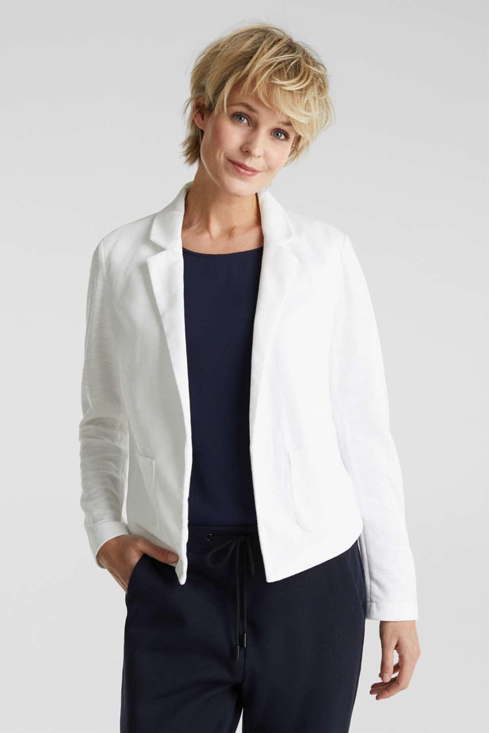 Open short blazer made of melange knit fabric, WHITE, detail image number 0