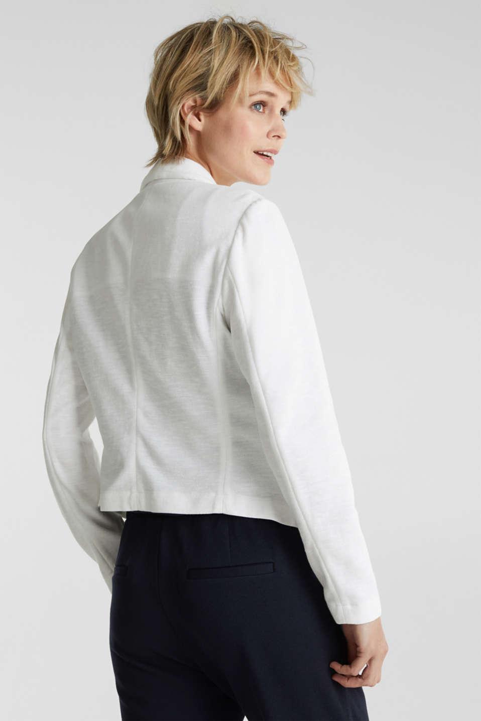 Open short blazer made of melange knit fabric, WHITE, detail image number 3