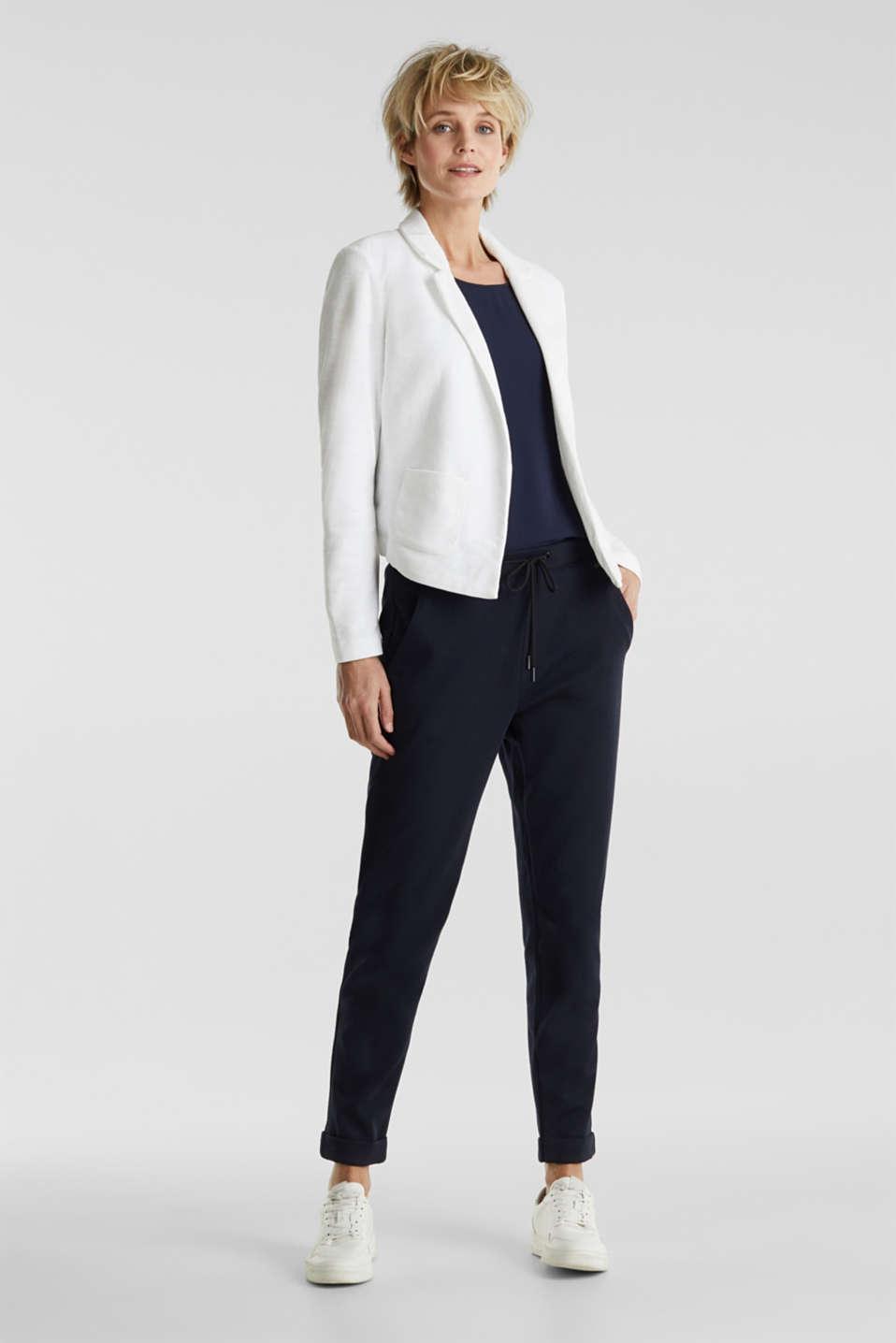 Open short blazer made of melange knit fabric, WHITE, detail image number 1
