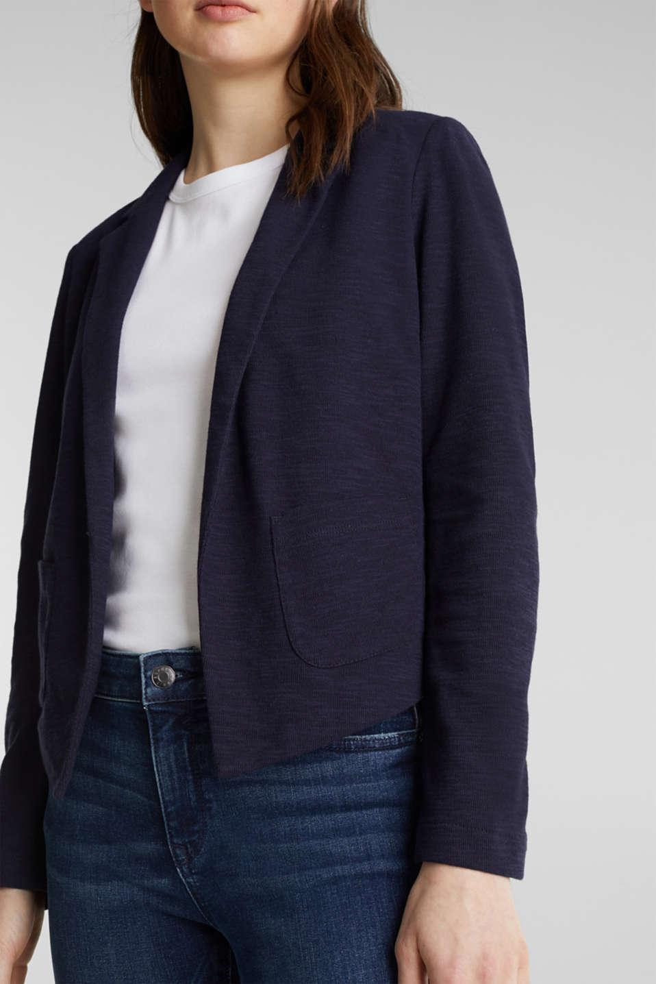 Short slub jersey blazer, NAVY, detail image number 2