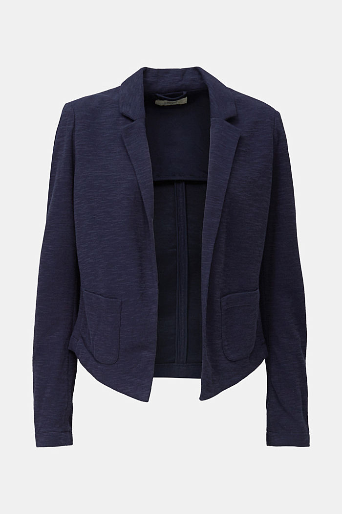 Short slub jersey blazer, NAVY, overview